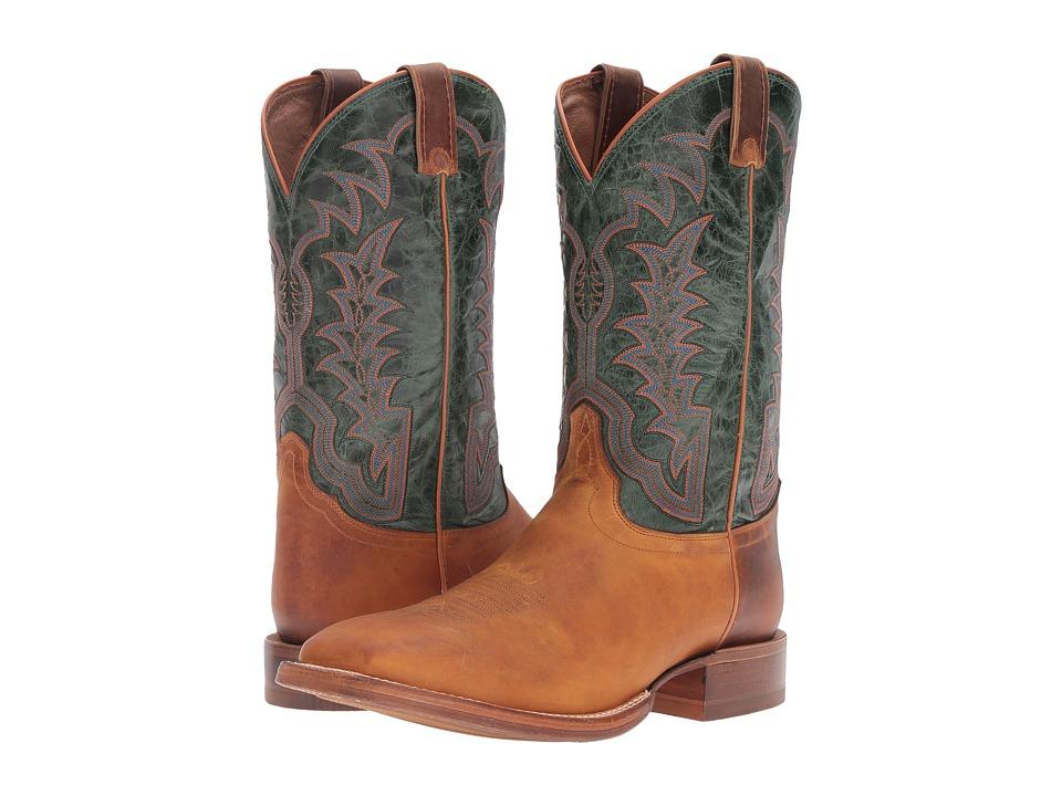 Justin - Hidalgo (Distressed Cognac/Royal Green) Cowboy Boots