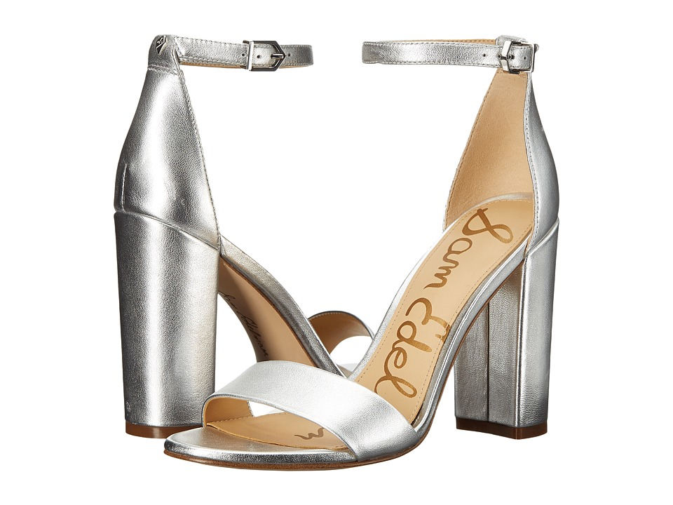 Sam Edelman Yaro Ankle Strap Sandal Heel (Silver) Women's Dress Sandals