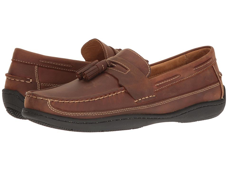 Johnston & Murphy - Fowler Tassel (Light Tan Oiled Full Grain) Mens Slip on  Shoes