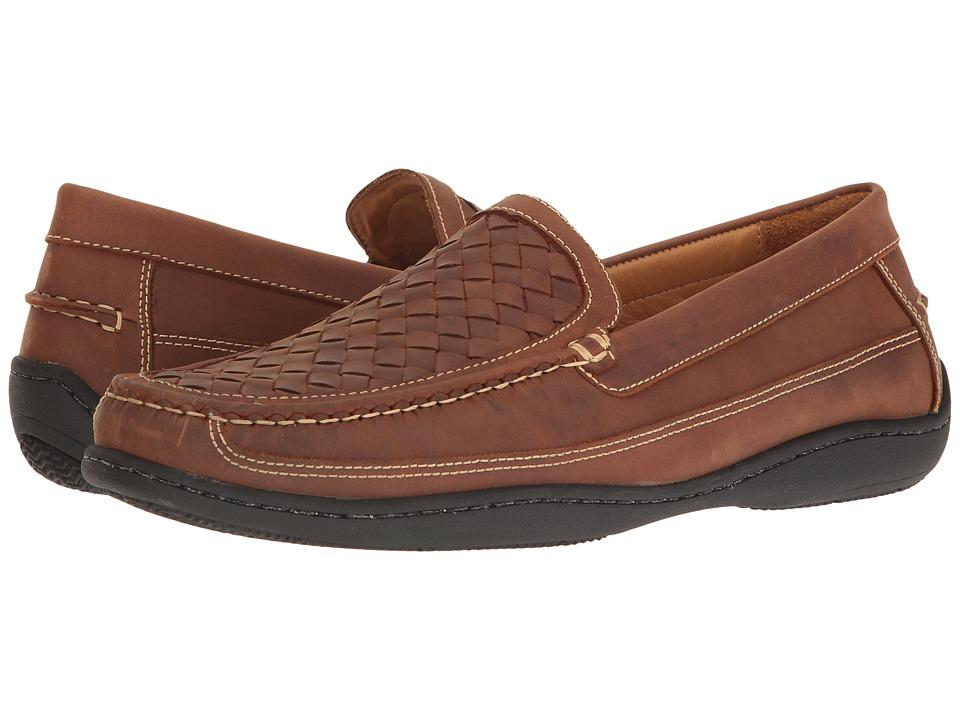 Johnston & Murphy - Fowler Woven Venetian (Light Tan Oiled Full Grain) Mens Slip on  Shoes