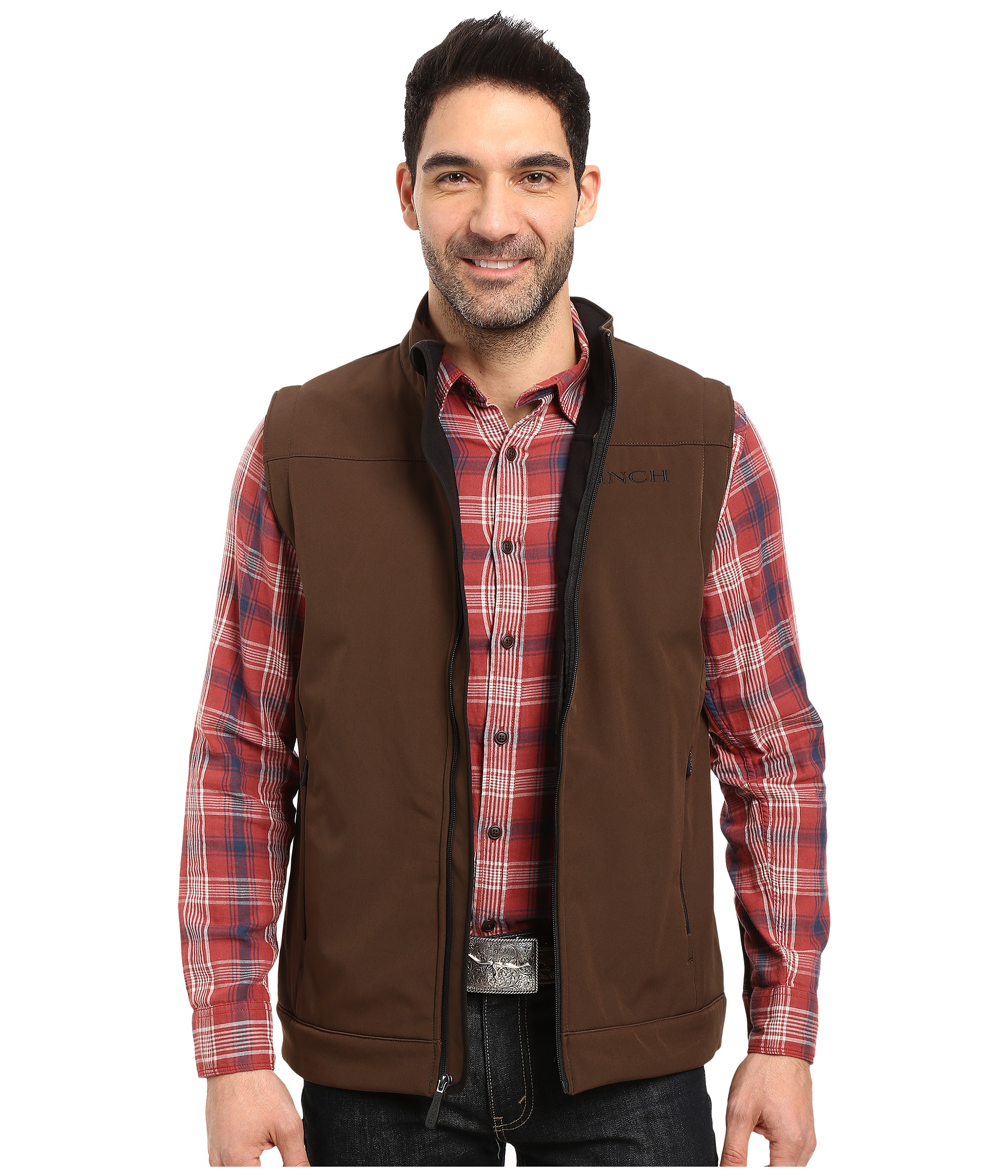 Mens Color Blocked Quilted Down Vest - Brown/Tan. $ Mens Hounds Tooth Puffer Vest - Brown/Black.