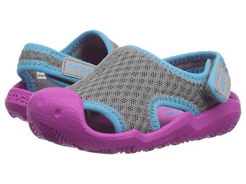 Crocs Kids Swiftwater Sandal (Toddler/Little Kid) - Smoke/Vibrant Violet