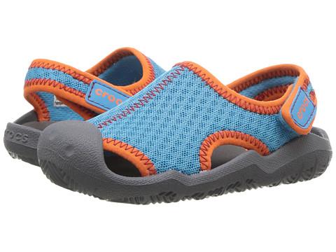 Crocs Kids Swiftwater Sandal (Toddler/Little Kid) - Cerulean Blue/Smoke
