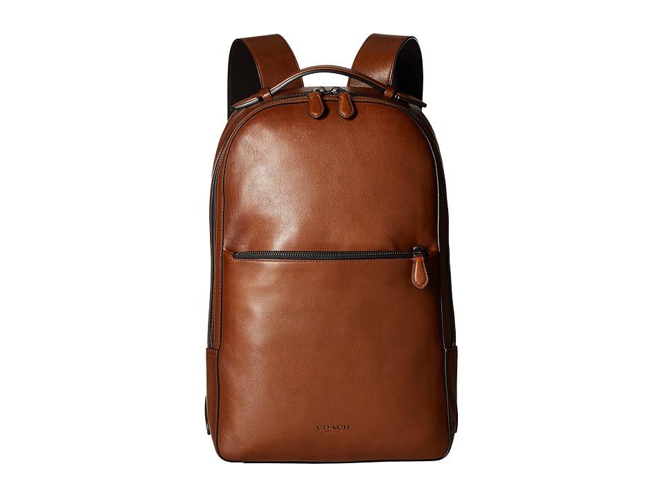 COACH - Metropolitan Soft Backpack (QB/Dark Saddle/Black) Backpack Bags