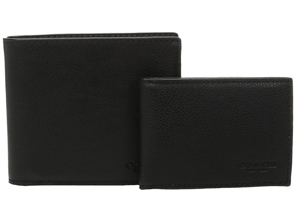 COACH - Leather 3-in-1 Wallet Set (Black/Black) Wallet Handbags