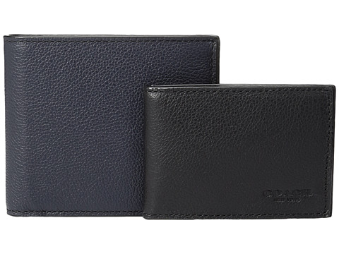 COACH Leather 3-in-1 Wallet Set - Midnight/Black