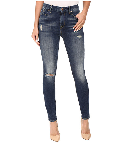 7 For All Mankind The High Waist Skinny w/ Destroy in Vintage Kensington