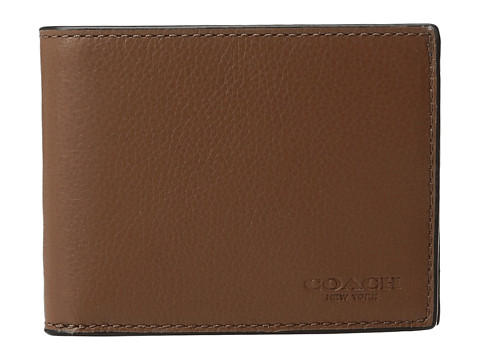 COACH Leather Slim Billfold USW Box Set - Dark Saddle