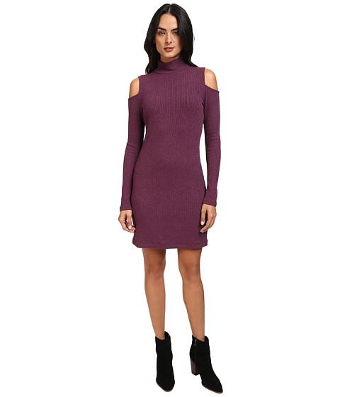 Splendid Waffle Knit Cold Shoulder Dress - Heather Violet