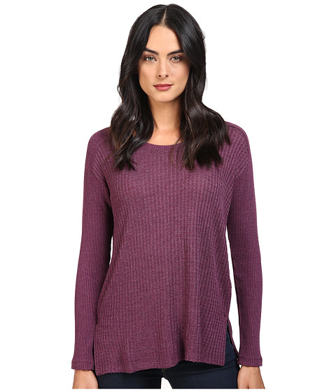 Splendid Waffle Loose Knit Pullover - Heather Violet