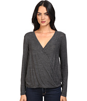 Splendid - Heathered Slub Jersey Surplice Top