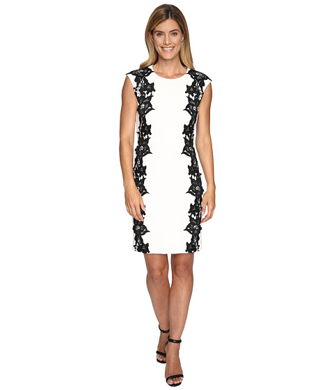 Vince Camuto Sleeveless Dress with Side Lace Panels - New Ivory