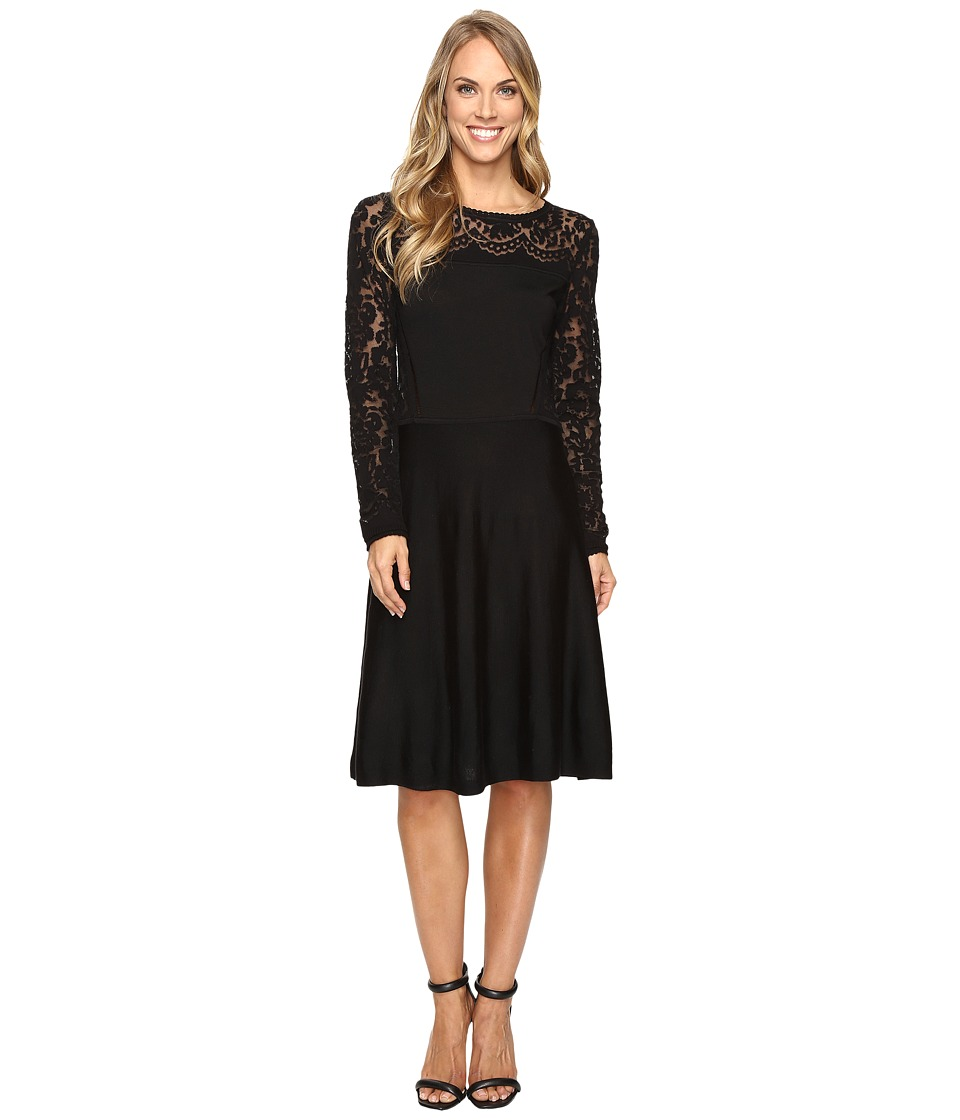 Vince Camuto Long Sleeve Burnout Flare Sweater Dress (Rich Black) Women