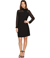 Vince Camuto - Long Sleeve Tie Neck Dress with Chiffon Sleeves/Yoke