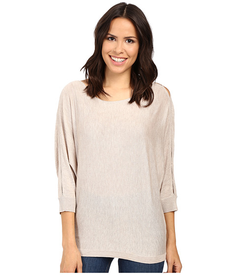 Splendid Bailey Sweater with Shoulder Slits - Heathered Wheat