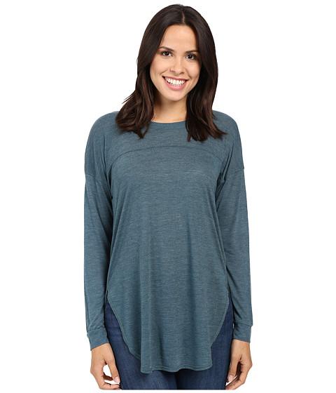 Splendid Heathered Drop Shoulder Long-Sleeve Tee - Teal Blue