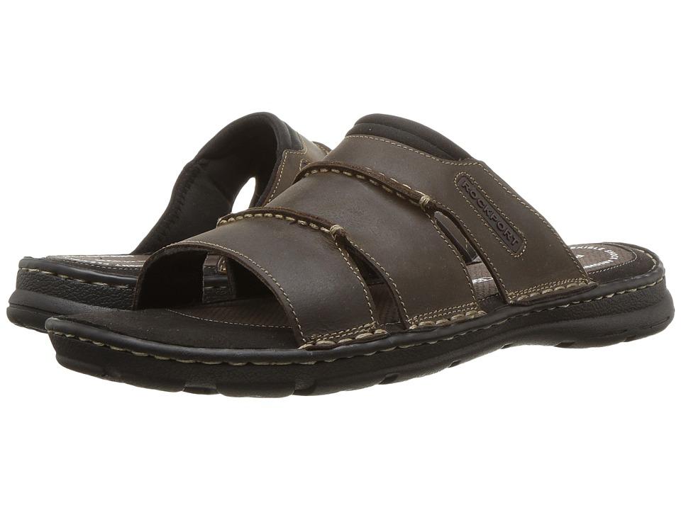 Rockport - Darwyn Slide (Brown II Leather) Mens Slide Shoes