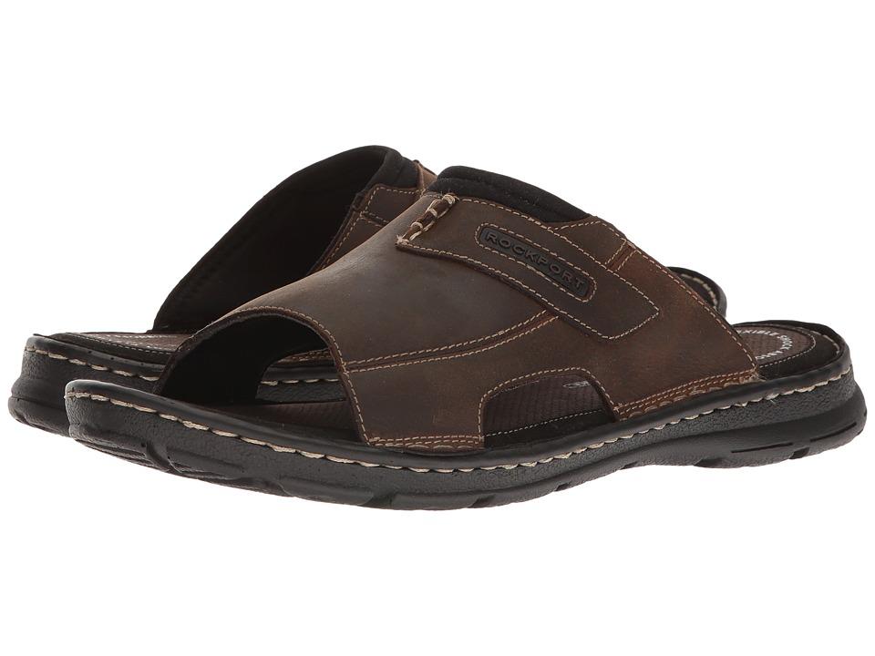Rockport - Darwyn Slide 2 (Brown II Leather) Mens Slide Shoes
