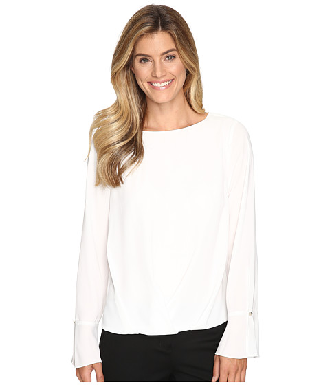 Vince Camuto Flutter-Cuff Fold-Over Blouse - New Ivory