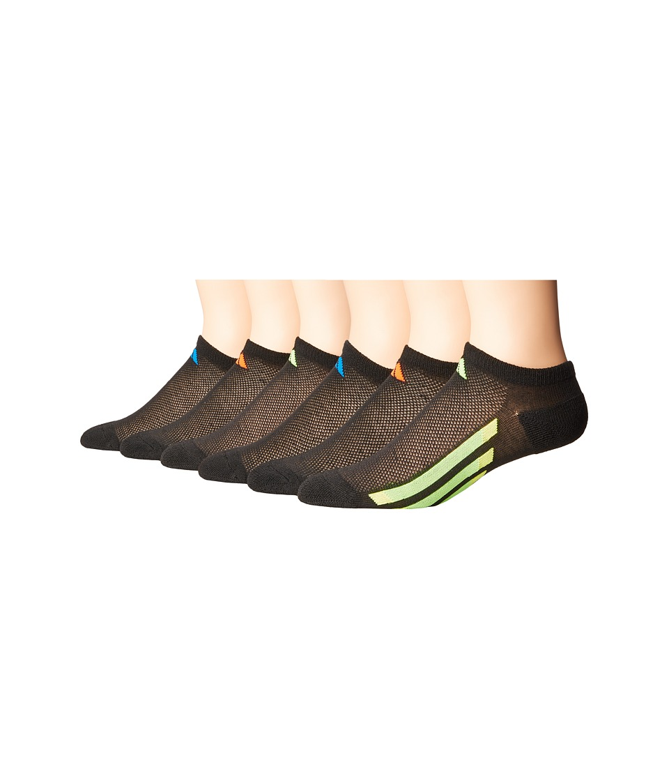 adidas Kids - Vertical Stripe No Show 6-Pack (Toddler/Little Kid/Big Kid/Adult) (Black/Solar Red/Bold Orange/Solar Green/Solar Yellow/Shock Blue) Kids Shoes