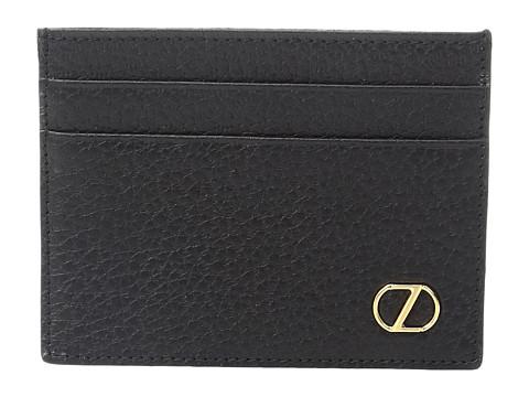 Z Zegna Grained Calfskin Card Case - Black