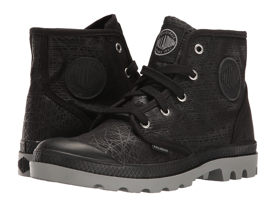 Palladium Pampa Hi (Black/Wild Dove/Spider Print) Women