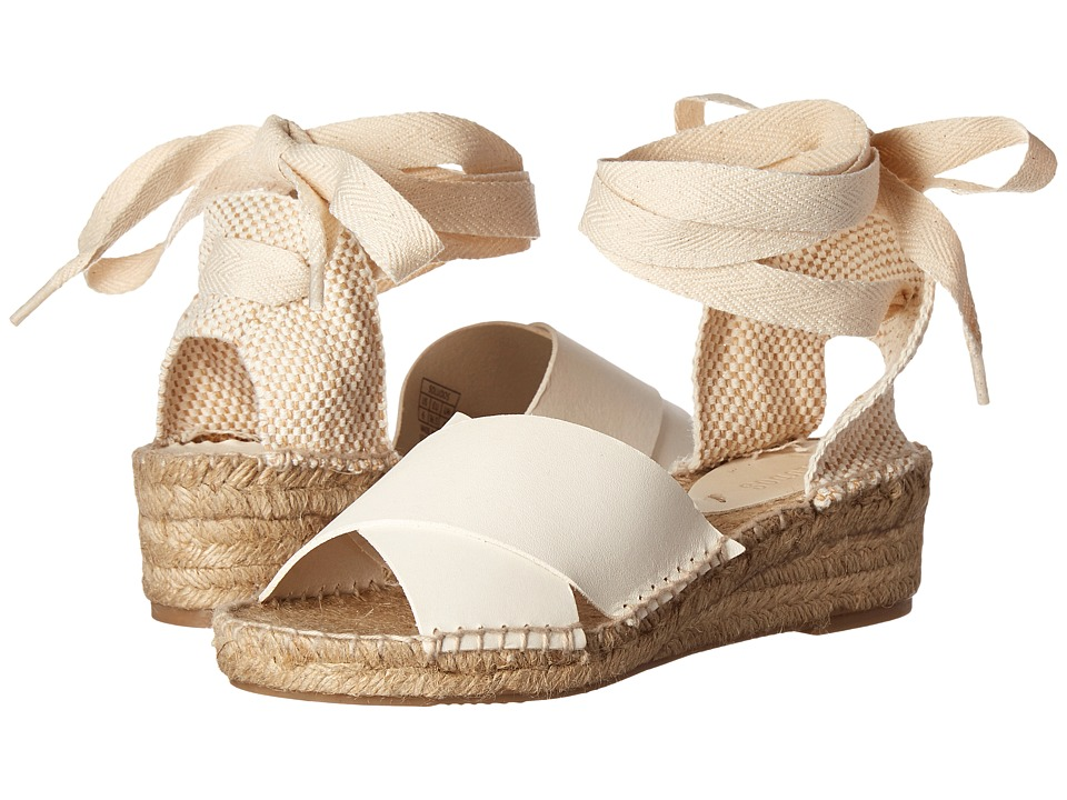 1940s Style Shoes Soludos - Crisscross Demi Wedge Ivory Leather Womens Wedge Shoes $129.00 AT vintagedancer.com