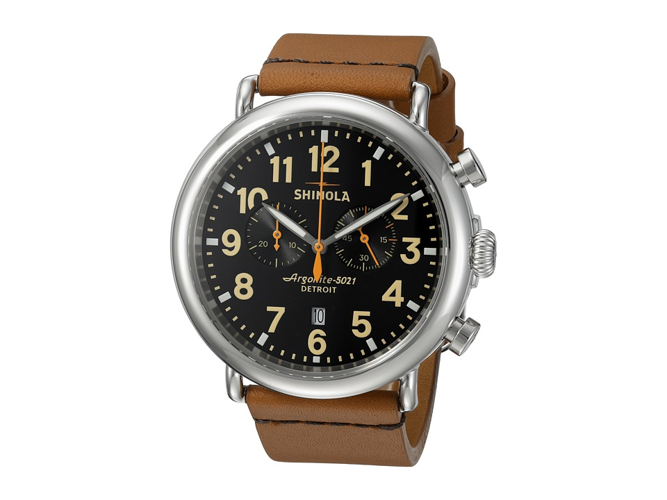 Shinola Detroit - The Runwell Chrono 47mm - 10000044 (Black/Tan) Watches