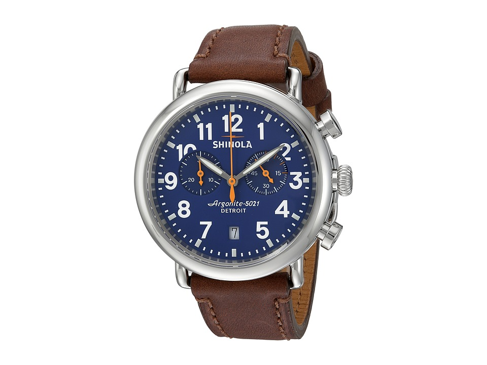 Shinola Detroit - The Runwell Chrono 41mm - 10000117 (Blue/Dark Brown) Watches