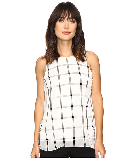 Vince Camuto Sleeveless Stripe Duet Blouse with Knit Underlay