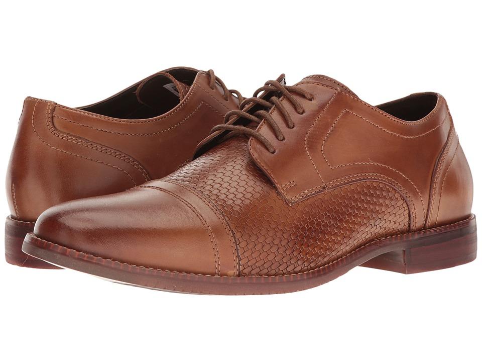 Rockport - Style Purpose Woven Cap Toe (Cognac Leather) Men's Shoes