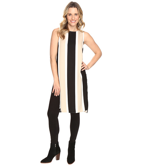 Vince Camuto Sleeveless Deco Bold Stripe Tunic w/ Side Slits - Tiramisu