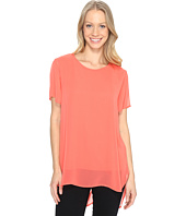 Vince Camuto - Short Sleeve Crew Neck Chiffon Overlay Blouse