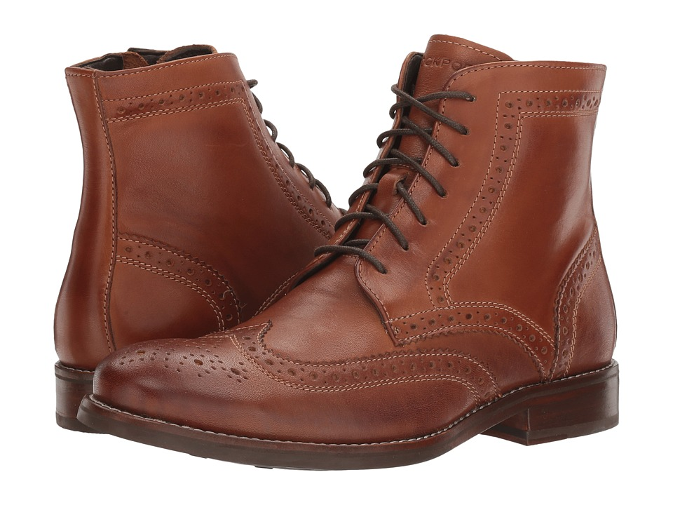 Edwardian Men's Shoes- New shoes, Old Style Rockport - Wyat Wingtip Boot Cognac Leather Mens Boots $164.95 AT vintagedancer.com