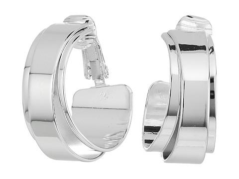 LAUREN Ralph Lauren City Chic Silver Metal Double Wrap Clip Hoop Earrings - Silver