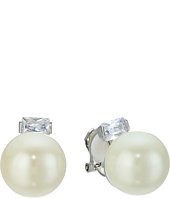 LAUREN Ralph Lauren - Downtown Modern 14mm Pearl & CZ Clip Earrings