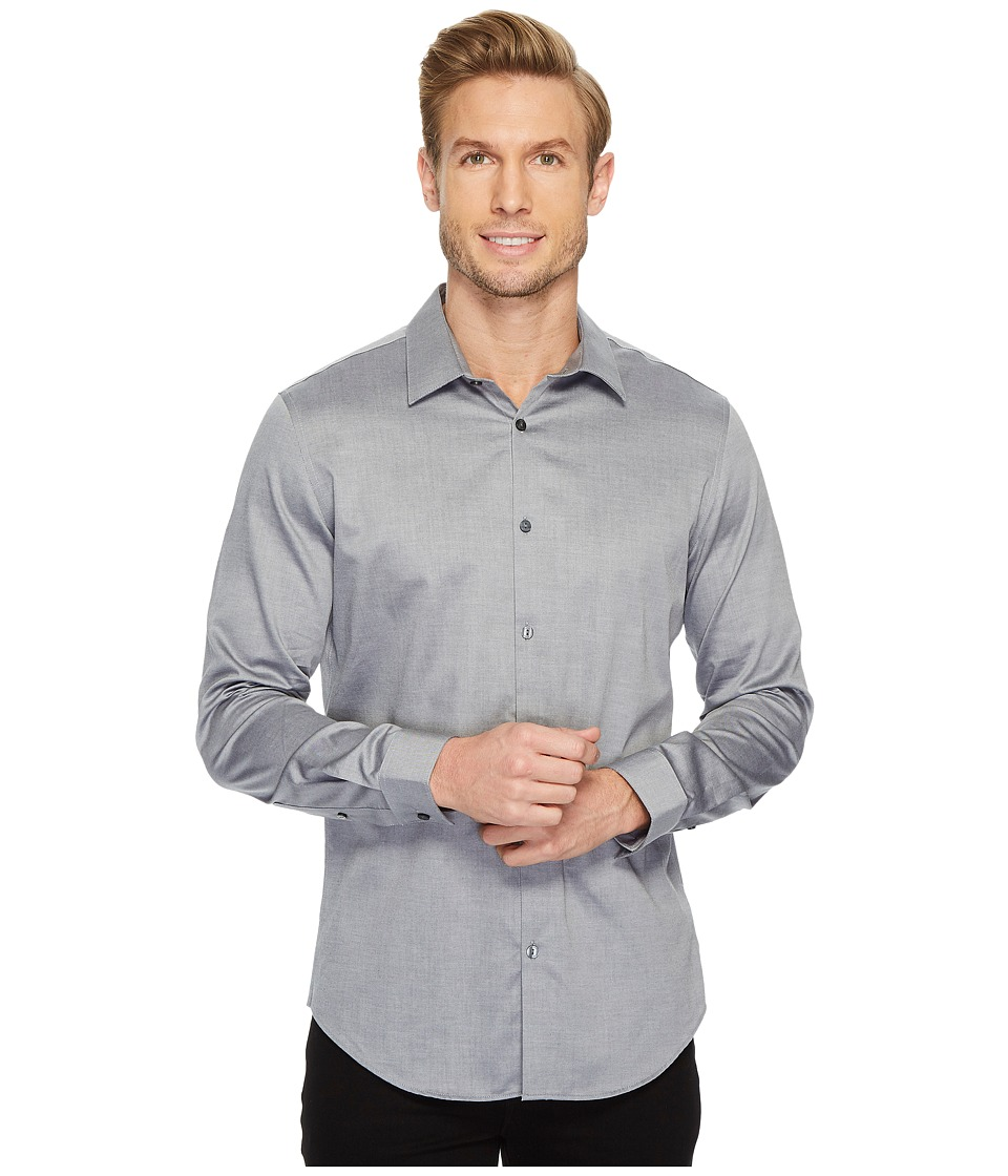 Calvin Klein - Slim Fit Long Sleeve Infinite Cool Chambray Twill Shirt (Grey) Mens Clothing