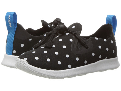 Native Kids Shoes Apollo Moc Print (Toddler/Little Kid) - Jiffy Black/Shell White/Shell Dots