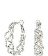 GUESS - Textured Braided Clutchless Hoop Earrings