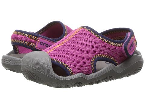 Crocs Kids Swiftwater Sandal (Toddler/Little Kid) - Neon Pink/Smoke
