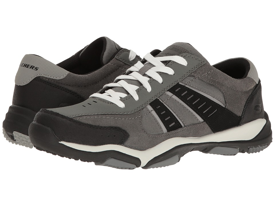 SKECHERS Classic Fit Larson Sotes (Charcoal Leather/Canvas) Men