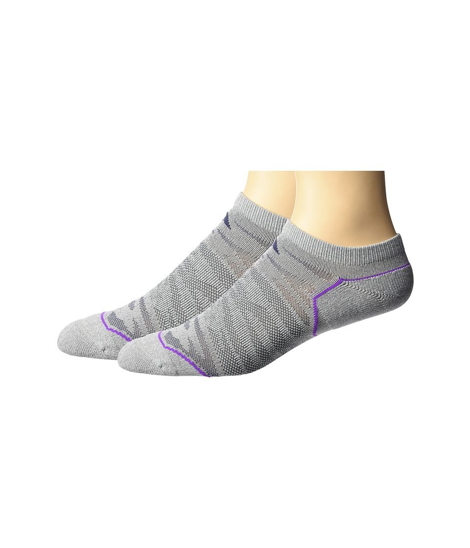adidas - Superlite Prime Mesh 2-Pack No Show Socks (Clear Grey Marl/Midnight Grey/Shock Purple/Easy Coral) Women's No Show Socks Shoes