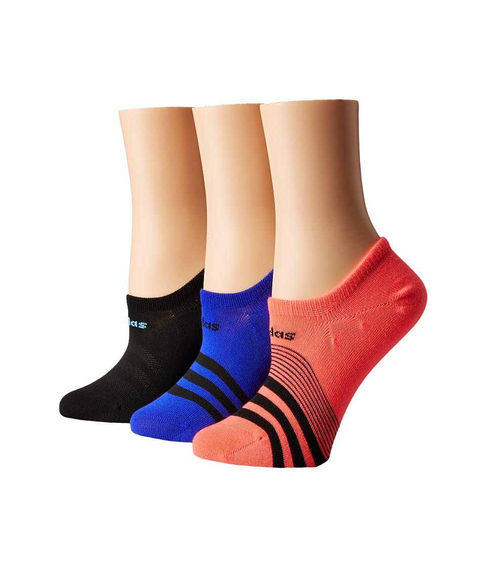 adidas - Superlite Super No Show Socks 3-Pack (Flash Red/Black/Bright Cyan/Night Flash) Women's No Show Socks Shoes