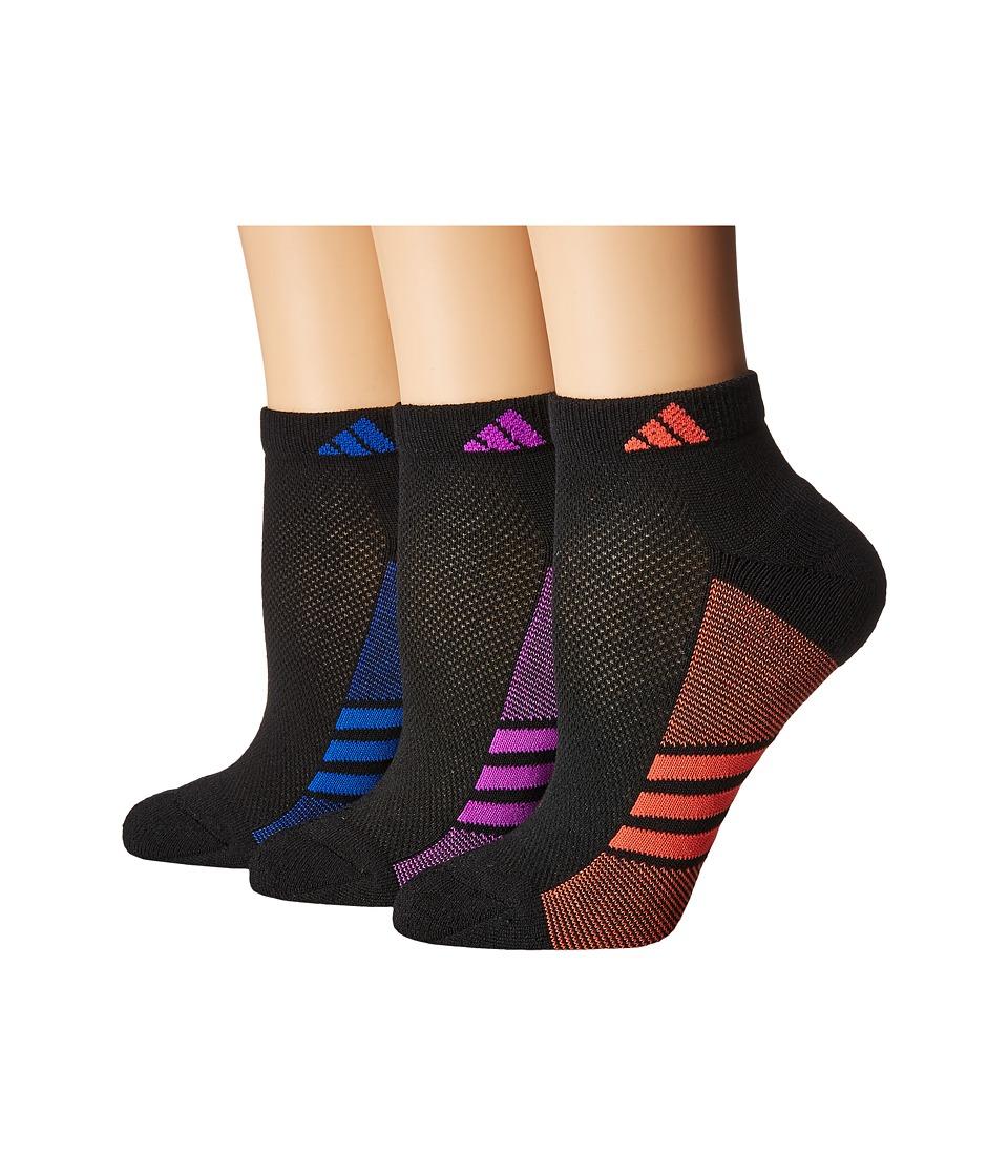 adidas - Climacool Superlite Low Cut Socks 3-Pack (Black/Easy Coral/Collegiate Royal/Shock Purple) Women's Low Cut Socks Shoes