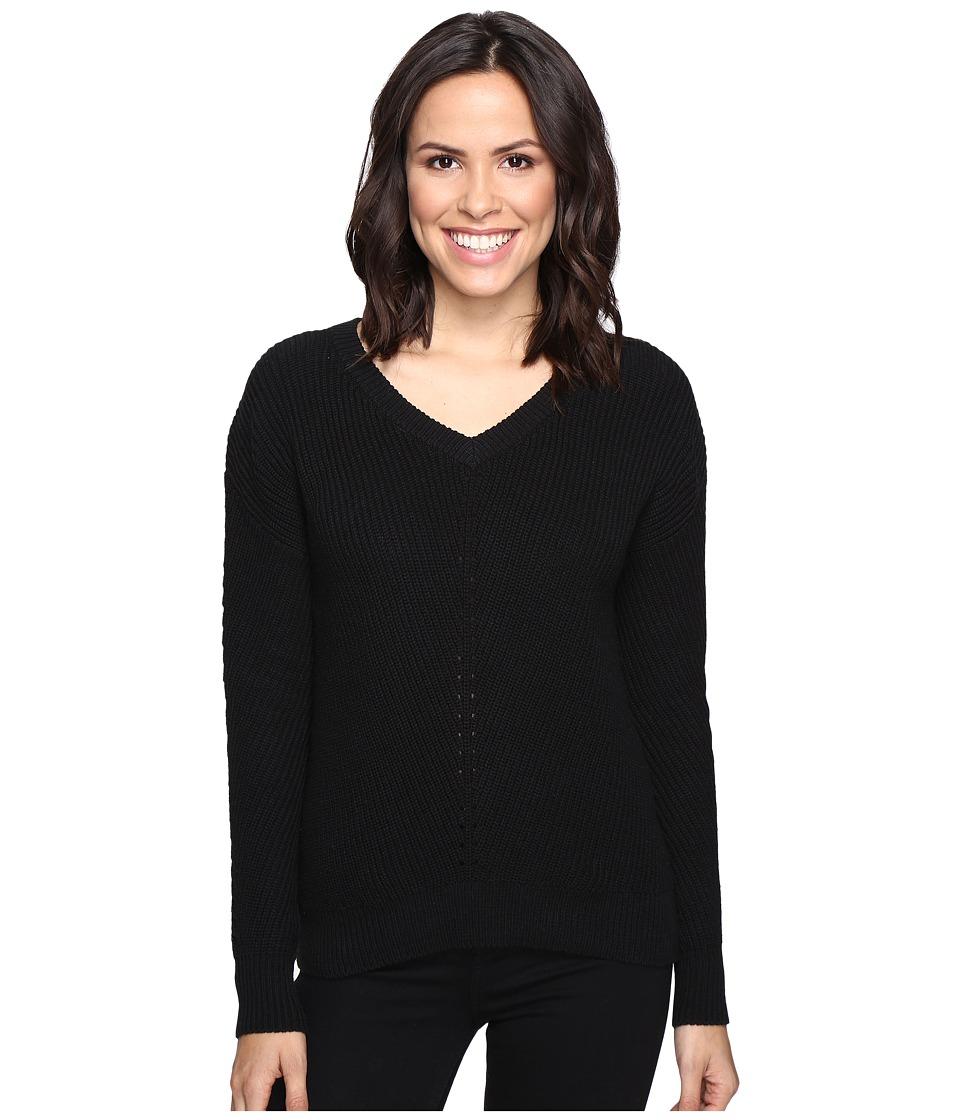 Michael Stars Alpine Knit V-Neck Cold Shoulder Sweater (Black) Women