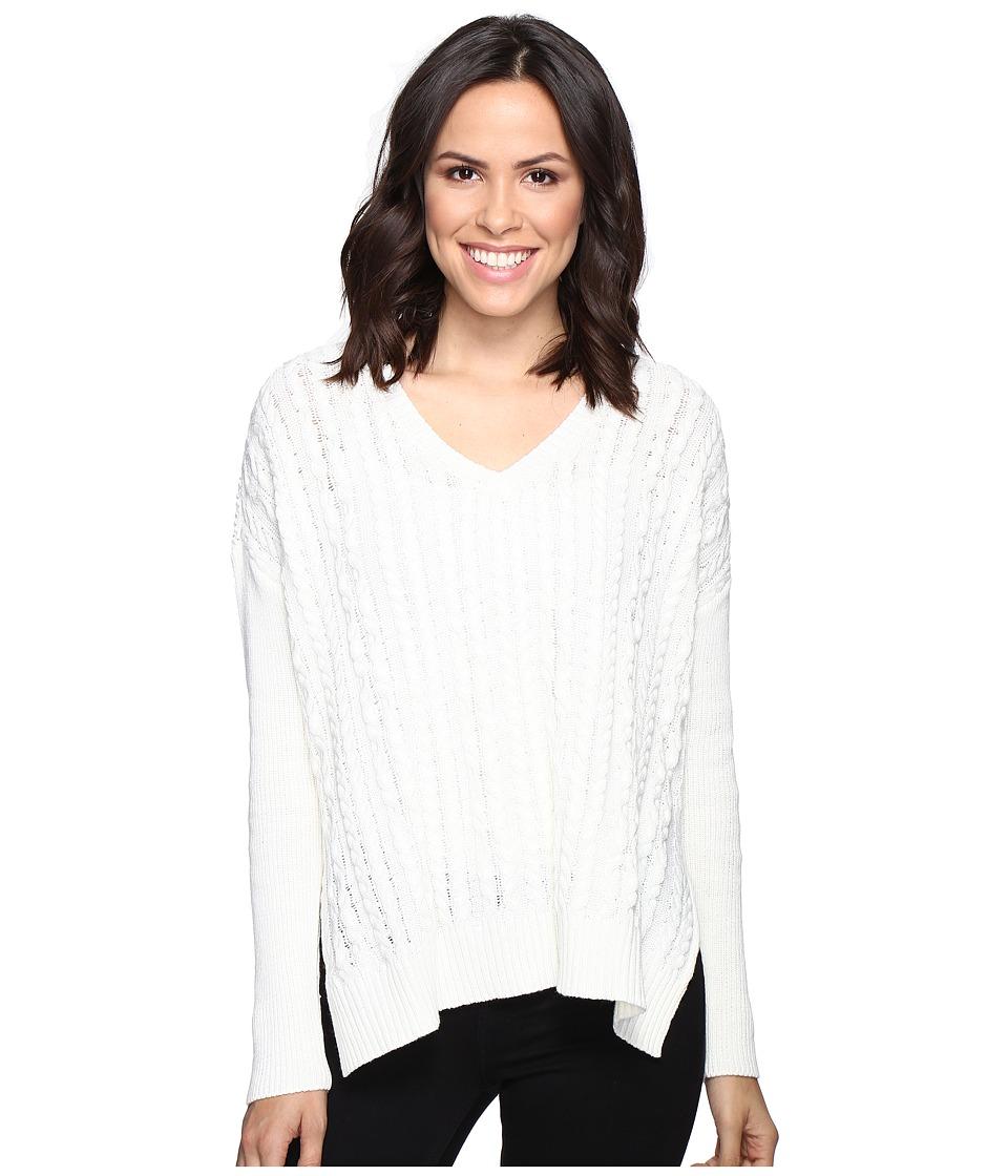 Michael Stars Alpine Knit V-Neck Cable Knit Sweater (Ivory) Women