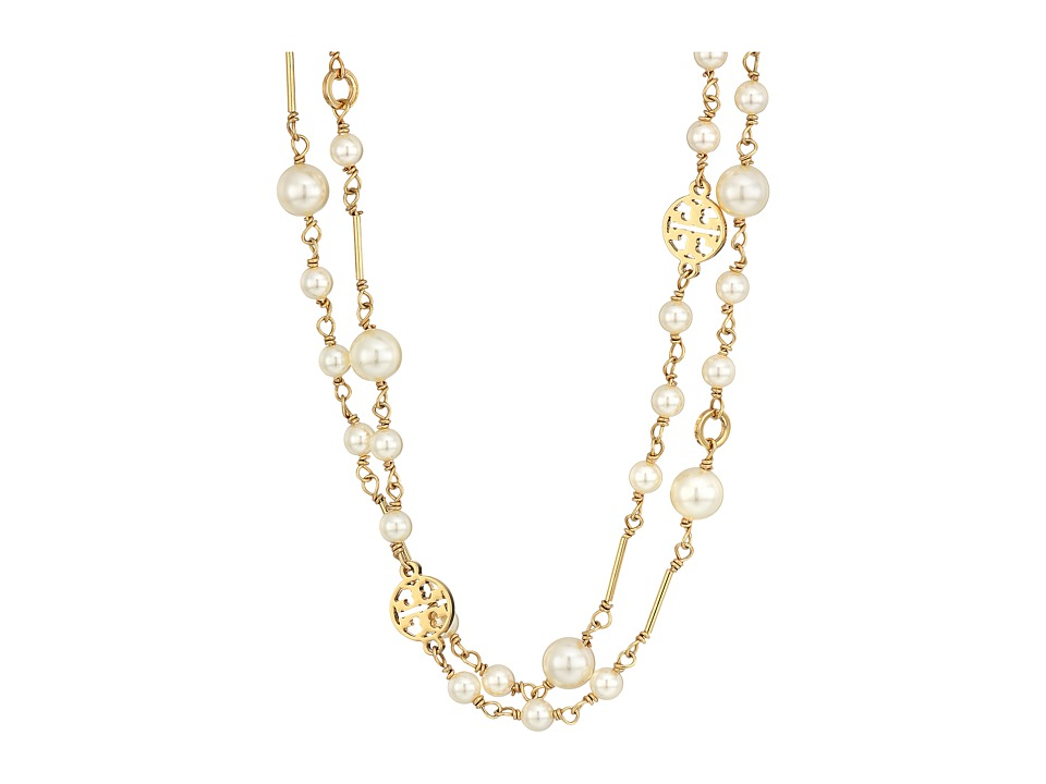 Tory Burch Crystal Pearl Convertible Necklace (Ivory/Shin...