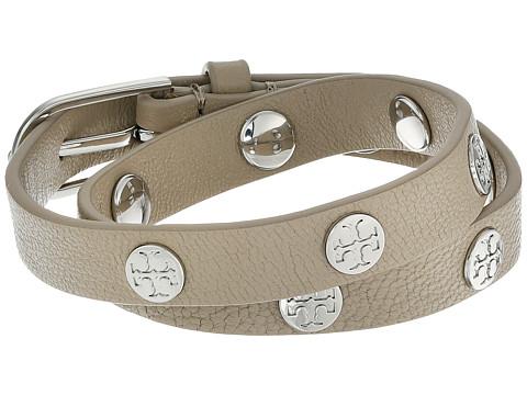 Tory Burch Double Wrap Logo Stud Bracelet - French Grey