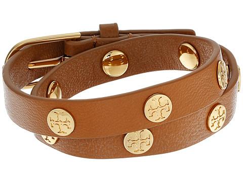 Tory Burch Double Wrap Logo Stud Bracelet - Aged Vachetta