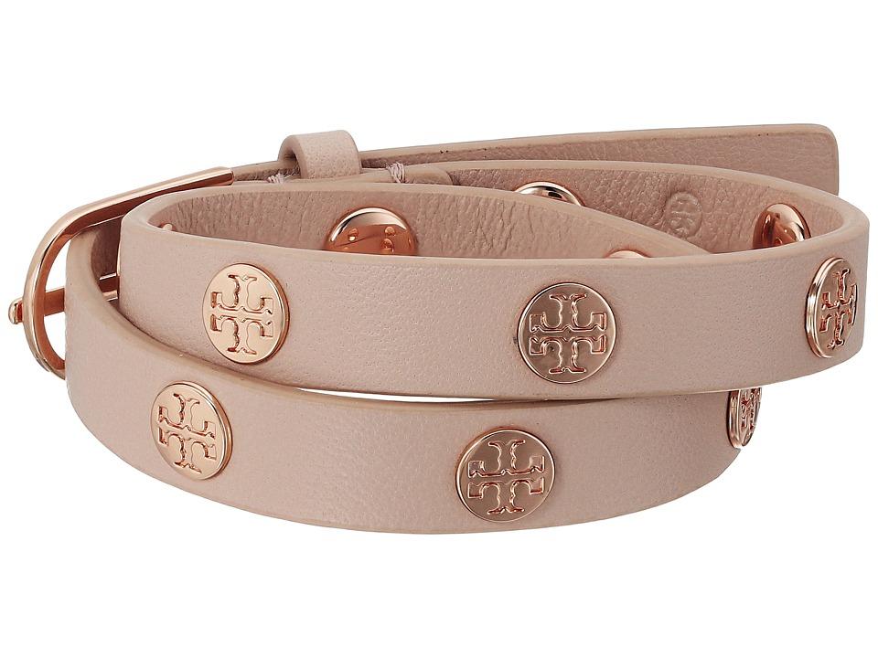 Tory Burch Double-Wrap Logo Stud Bracelet - Light Oak/Rose Gold